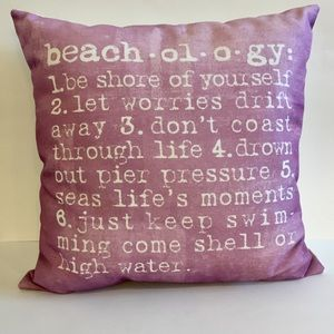 Purple Lavender Beach-o-lo-gy Throw Pillow